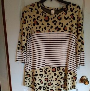 Yellow leopard black and white striped color block